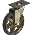 Aluminum Single Wheel Vintage Caster without Brake- Rustic Brass