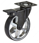 Aluminum Single Wheel Design Caster - Chrome & Black