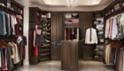 MasterSuite with Solid Wood Fronts and Shoe Shelves in Chocolate Pear